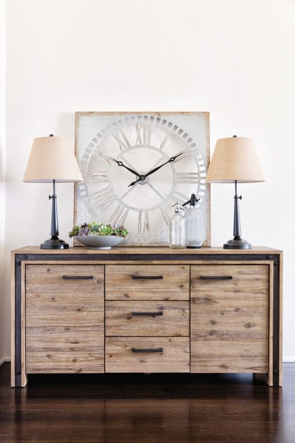 Amos Dining Buffet Credenza Distinguished By An Updated Rustic Industrial Look Our Boasts Acacia And Veneer Construction