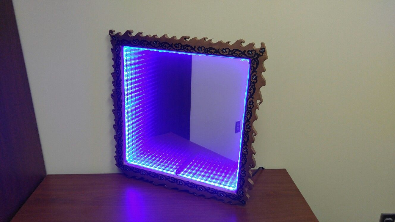 Infinity mirror with custom gold scroll frame 12x12 soundmusic infinity mirror with custom gold scroll frame 12x12 soundmusic sensor and thousands jeuxipadfo Images