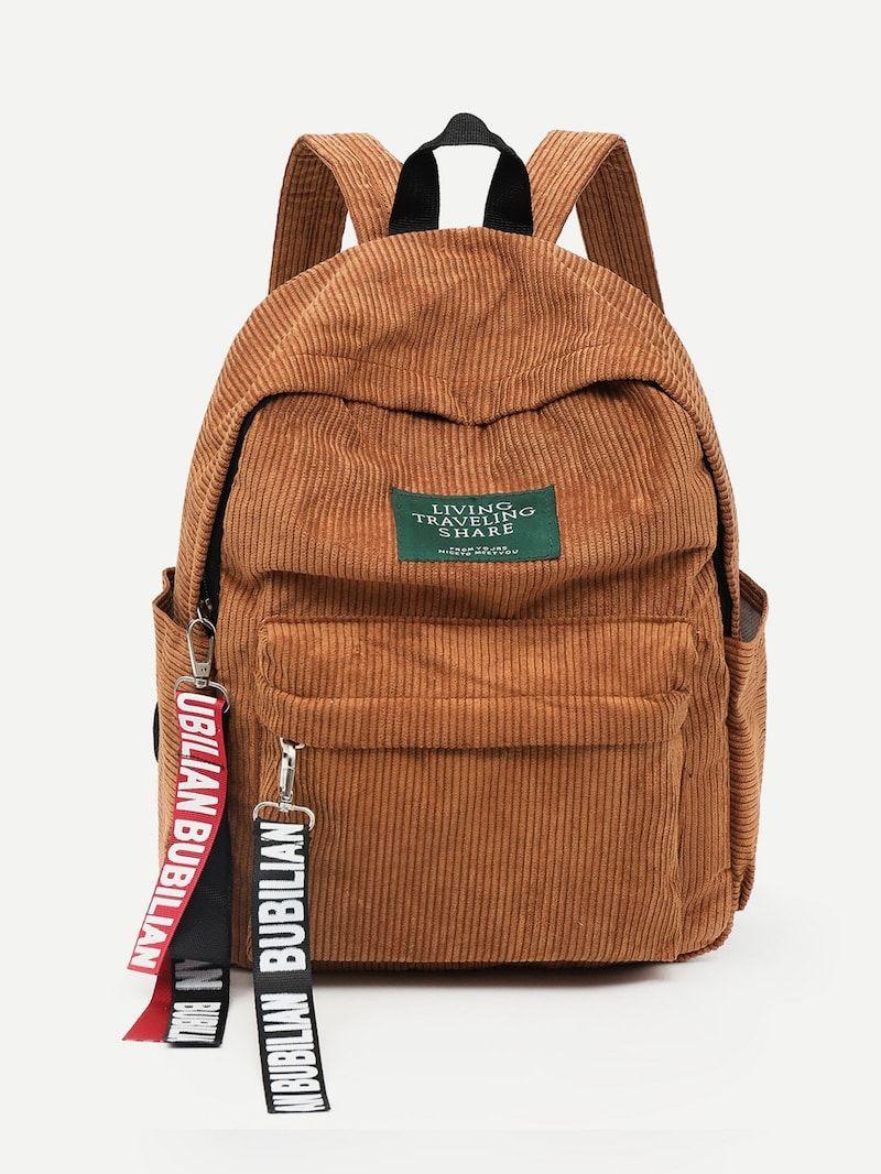 0ba7f825e Slogan Ribbon Corduroy Backpack in 2019   back packs   Backpacks ...