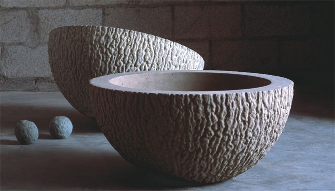 Cast-Concrete planters, the quartz series, by Arizona based company Kornegay Designs