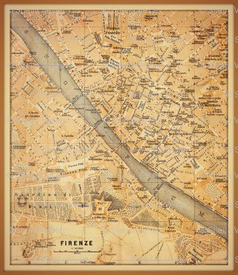 FLORENCE ITALY Map fabric... perfect for DIY by HeritageAndHeart, $10.00