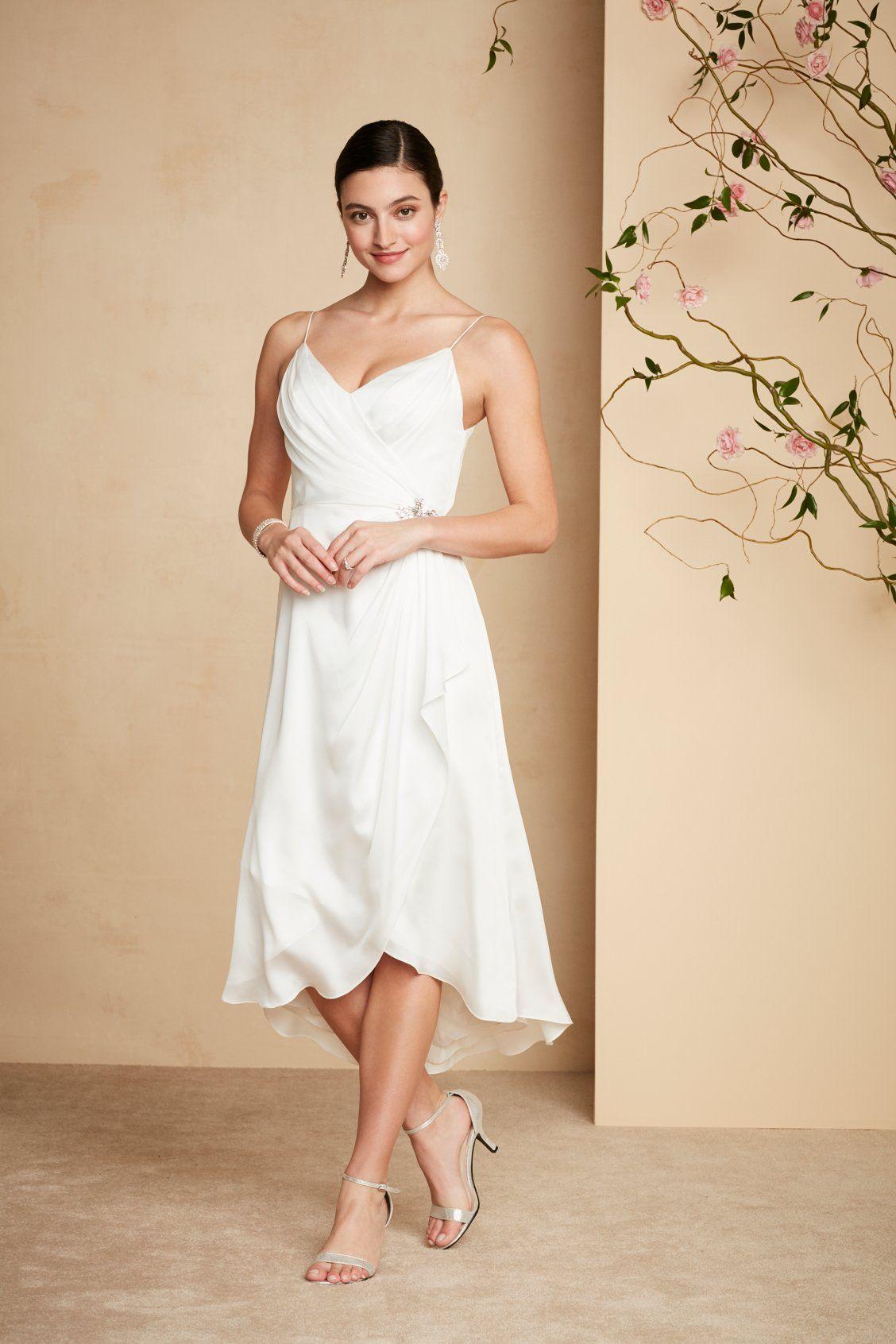 This slinky vneck short wedding dress is perfect for a city hall