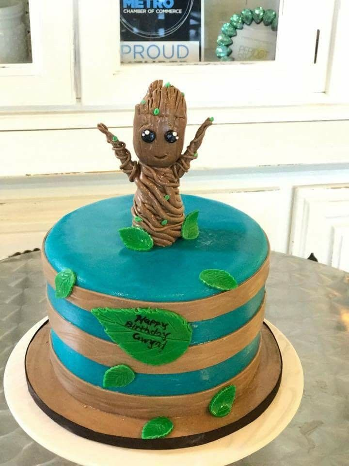 Baby Groot Guardians Of The Galaxy Birthday Cake Peridotsweets