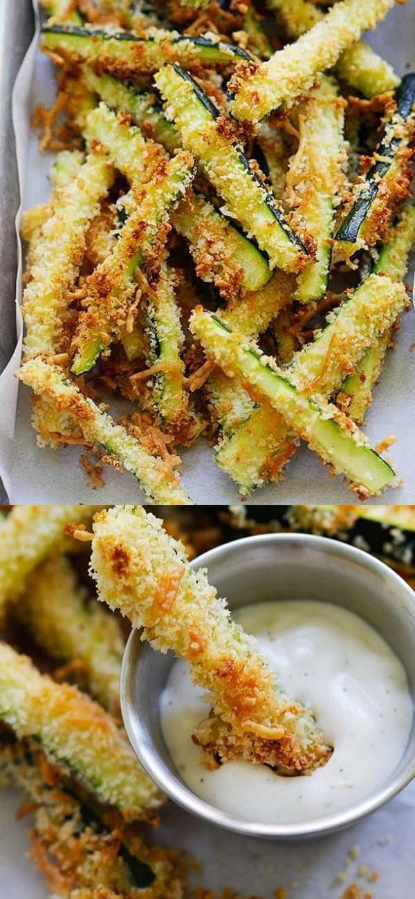 Zucchini Fries oven baked with Japanese Panko bread crumbs and Parmesan cheese Serve these crispy zucchini French fries with ranch dressing as a healthy and low calorie s...