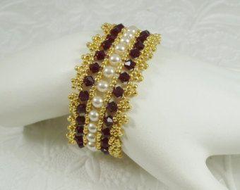 Bracciale cristallo rosso e perle