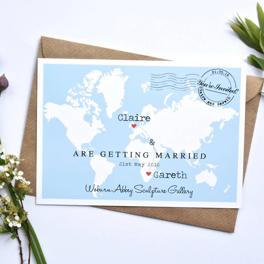 Wedding Abroad Invitation Wording Ideas: Travel Inspired Wedding Invitation 'Claire'
