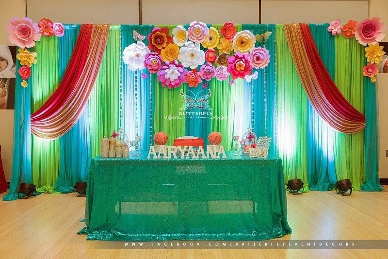 15 Beautiful Curtains Decorations For Birthday Parties Artcraftvila Party Decorations 1st Birthday Decorations Birthday Backdrop