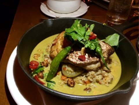 American red snapper w/dirty rice, plantains, shishito pepper in a pepper pot stew at Town Hall in SF