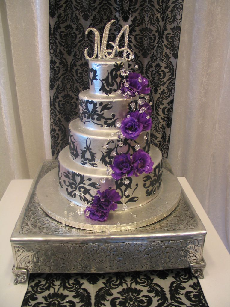 purple white and silver wedding cakes purple and silver wedding cakes wedding cake iced 18927