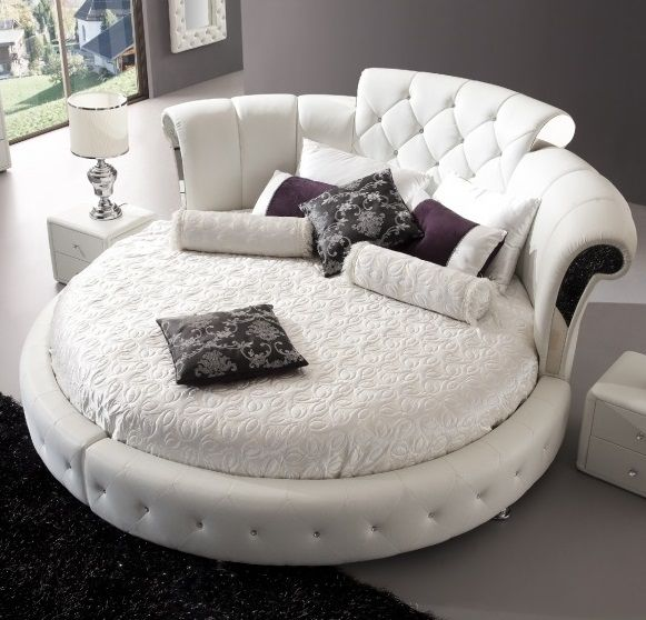 Romantica Round Chesterfield Style Bed In White Bonded ...