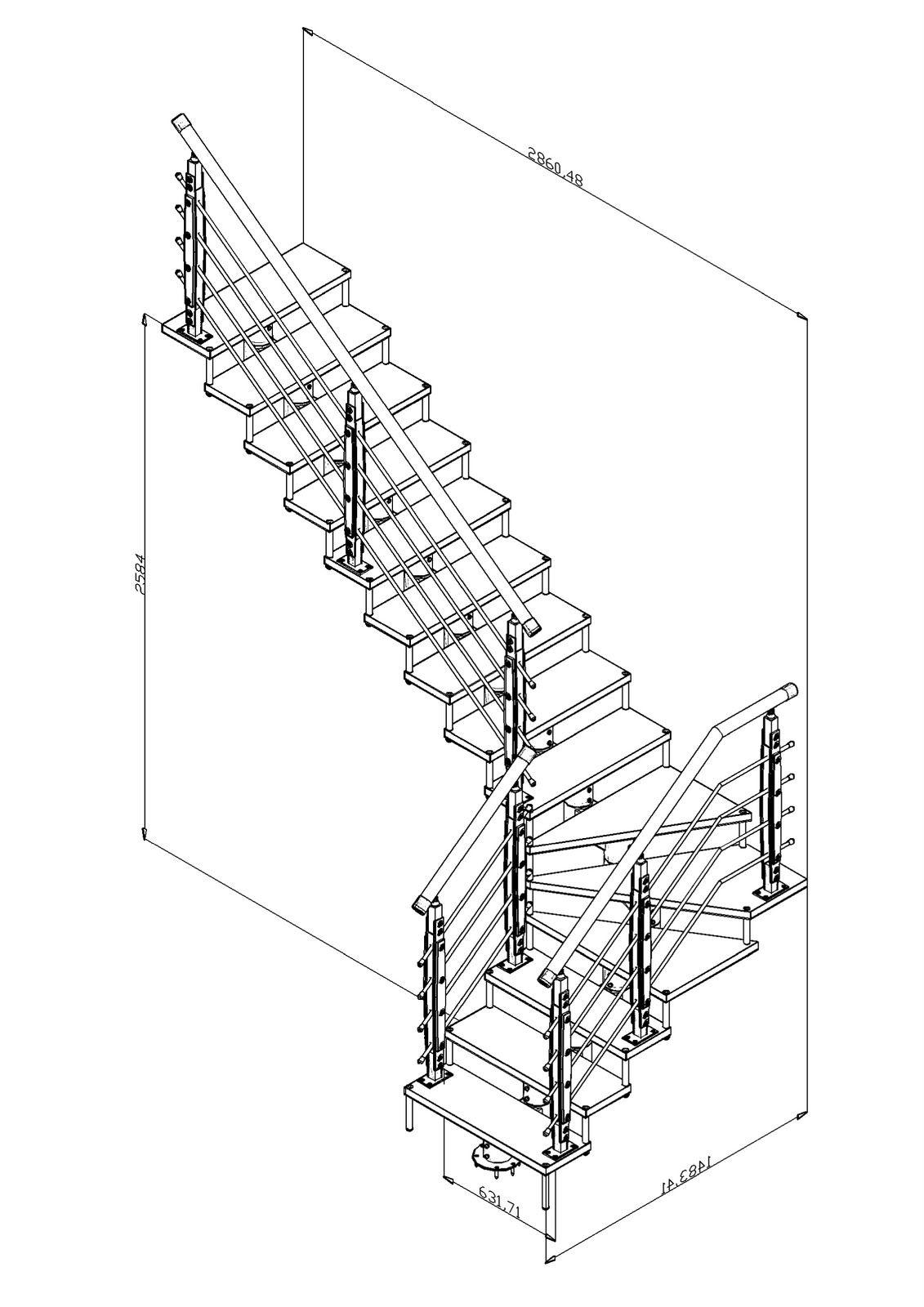Escalera en l medidas buscar con google escaleras for Dimensiones de escaleras