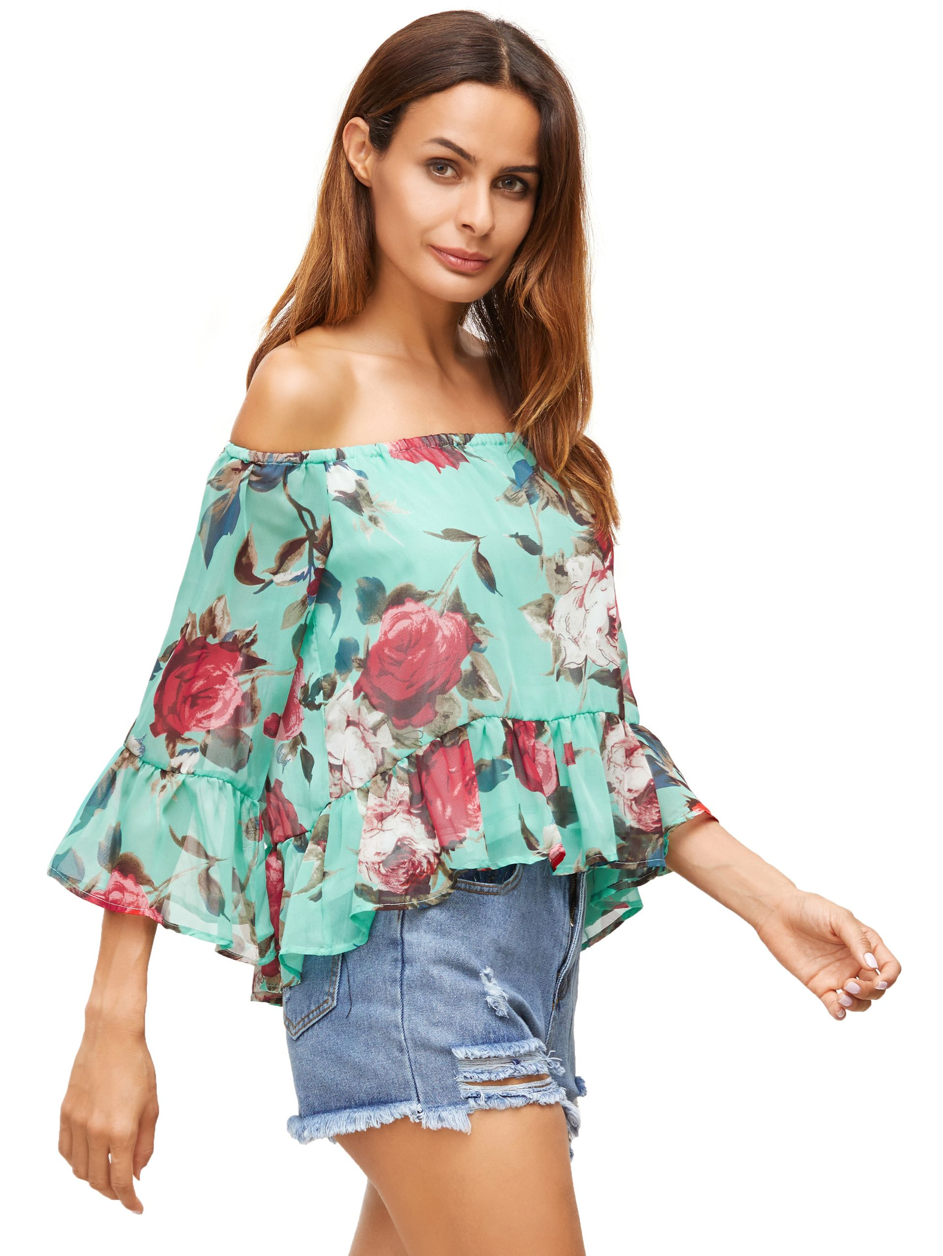 6eae6c42f6b0d Shop Green Floral Off The Shoulder Blouse online. SheIn offers Green Floral  Off The Shoulder Blouse   more to fit your fashionable needs.