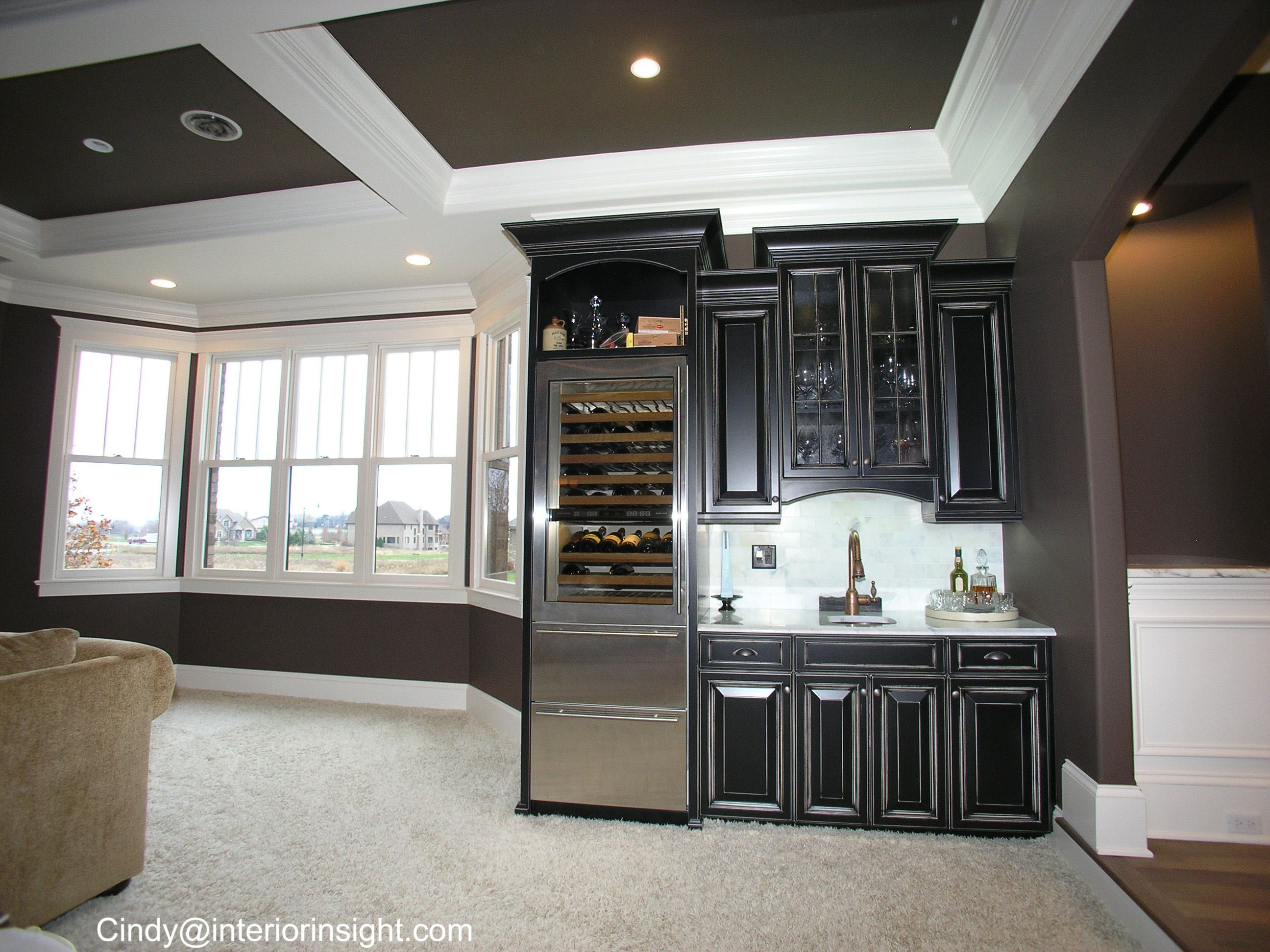Wet bar with stainless wine and beer fridge black cabinets for Home wet bar dimensions