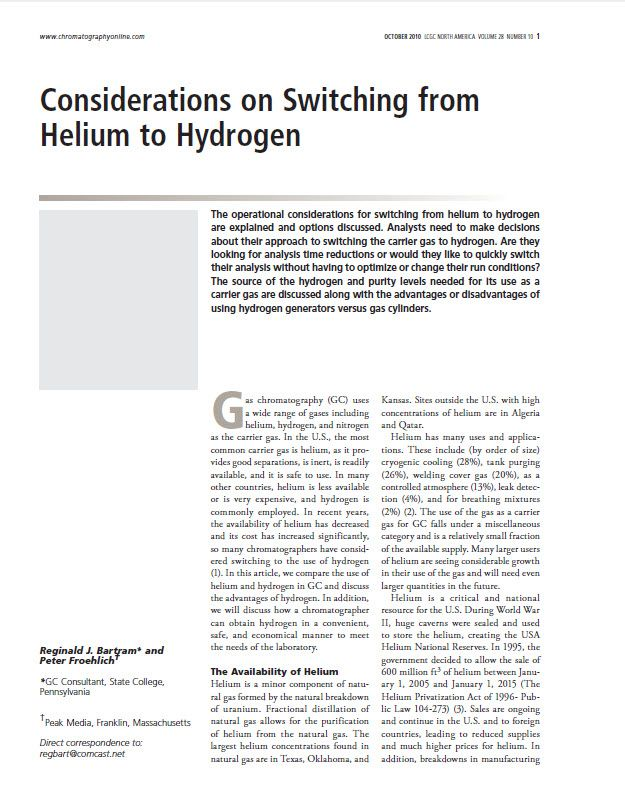 Considerations On Switching From Helium To Hydrogen As A Carrier Gas For Gas Chromatography Via Lab Gas Generators Process Control Gas Chromatography Analysis