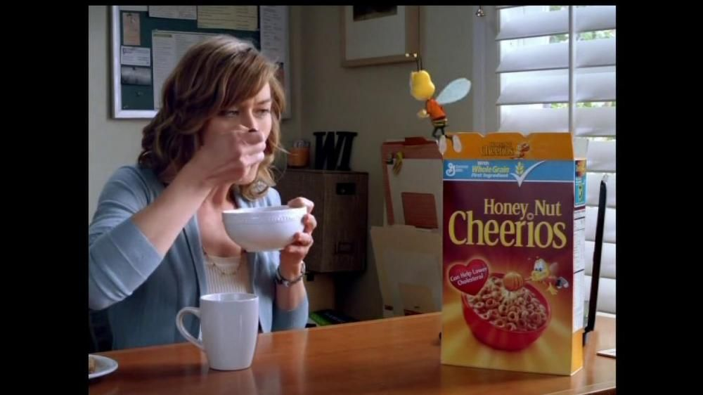 Honey adds an extra touch of deliciousness to Honey Nut Cheerios. In this commercial, the Cheerios bee talks to a woman and tells her about the cereal. He suddenly sees her wall collection of insects and decides it's time for him to go.