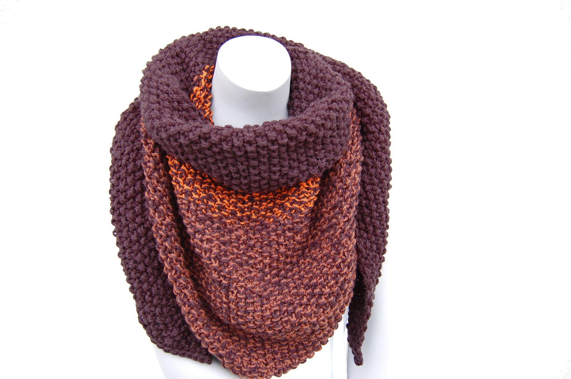 Chèche tricoté main couleur noir, marron, rouille   Echarpe, foulard,  cravate par l-b-creamain 3ccf748f230