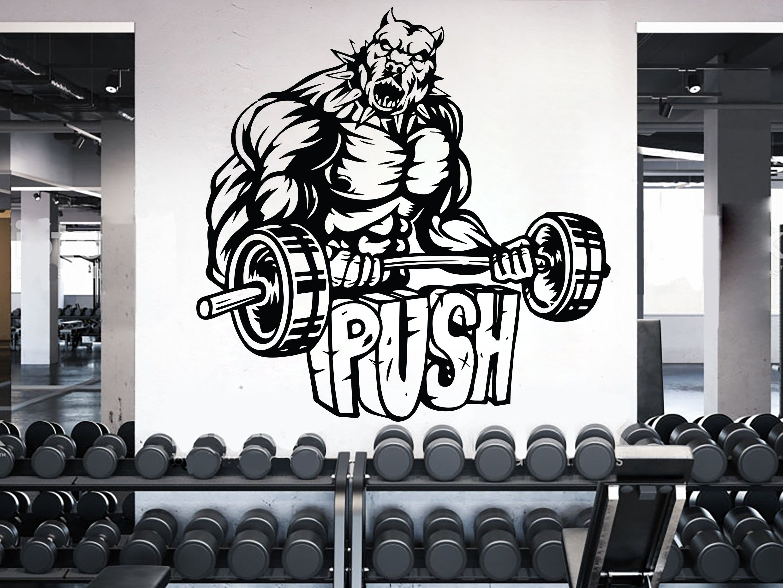 Dog Gym Wall Decal Custom Fitness Decor Workout Art Vinyl Dog Etsy Gym Wall Decal Gym Wall Stickers Wall Stickers Bedroom [ 1860 x 2480 Pixel ]