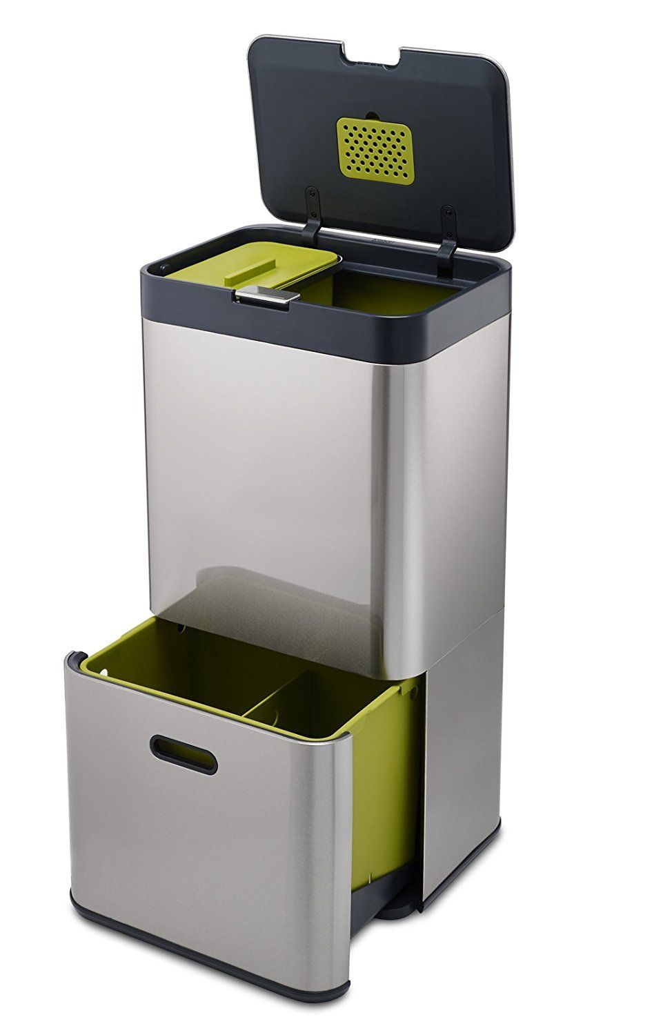 Amazonsmile Joseph Joseph 30022 Intelligent Waste Totem Trash Can And Recycler Unit Garbage Can Recycling Bin Stainless Steel 16 Gallon Silver K Poubelle Tri