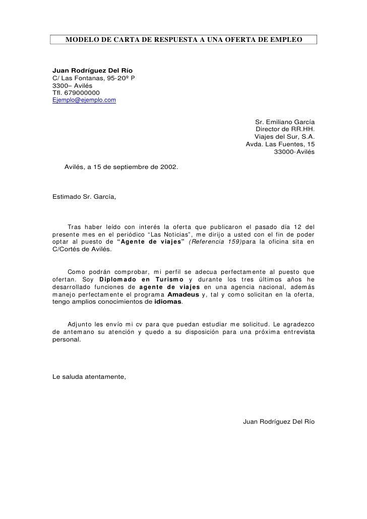 MODELO DE CARTA DE RESPUESTA A UNA OFERTA DE EMPLEO Juan Rodríguez ...