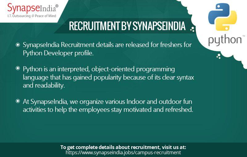 SynapseIndia Recruitment for freshers in Python