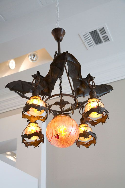 Austrian Bronze Bat Chandelier With Gl Orbs Fuller