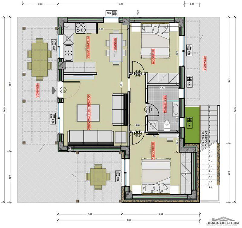 خريطة استراحه صغيرة 2 غرفة نوم Floor Plans How To Plan Flooring