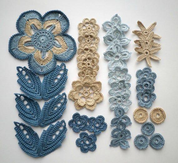 Crochet flowers and leaves beige blue denim Irish crochet lace applique Set of 36 Scrapbook Clothes hats cards Boho Hippie decor #irishcrochetflowers