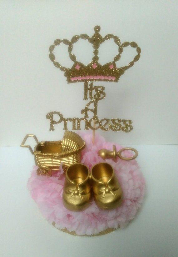 be9d2f62 It's A Princess,welcome little Princess, royal baby shower, princess baby  shower, golden pacifier, golden stroller, golden shoes, set of 2