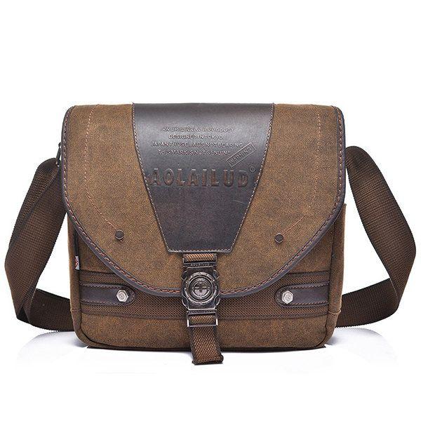 Men Retro Shoulder Bag Canvas Crossbody Bag Genuine Leather Crossbody Bag is worth buying - NewChic