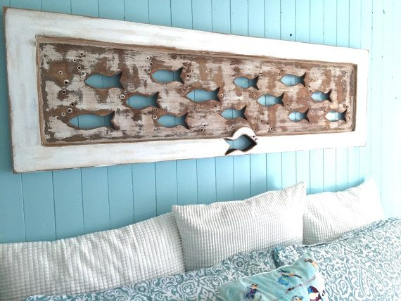 Wood School Of Fish Wall Art Headboard Queen Size By Castawayshall