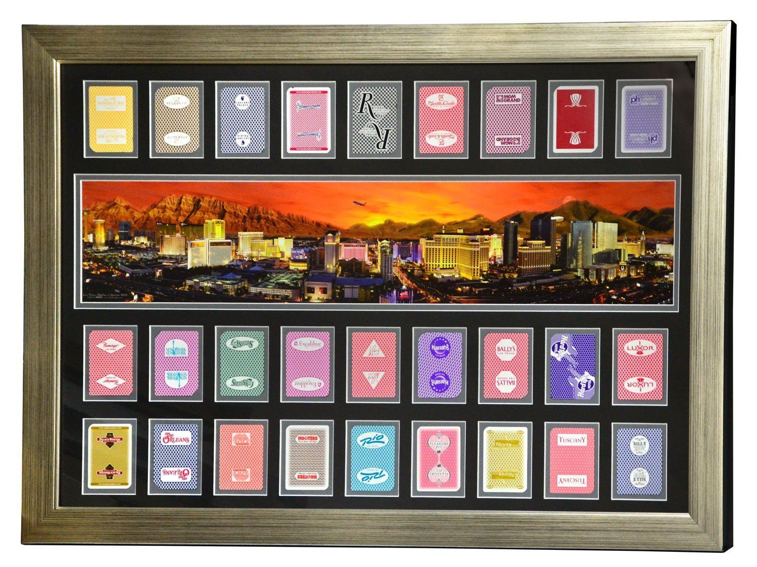Las vegas hotels authentic 27 playing cards collage framed