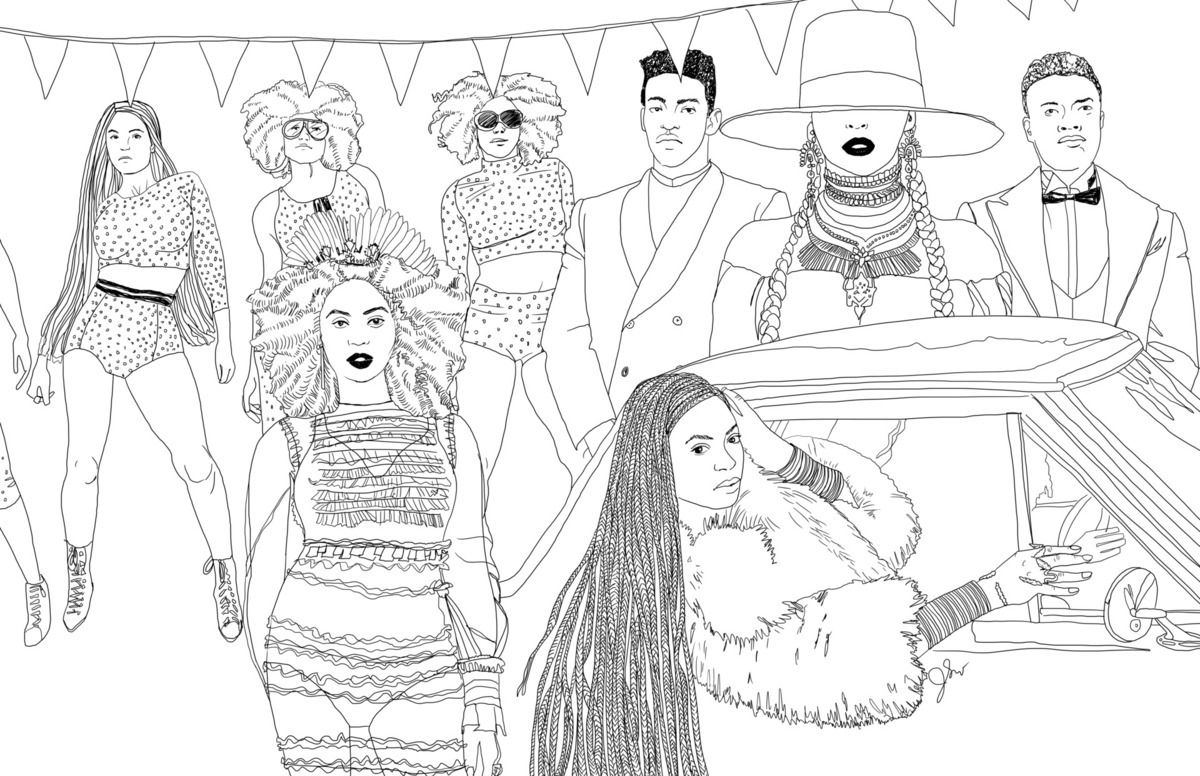Illustrator Beautifully Recreates Iconic Scenes From Beyonce S Lemonade Coloring Books Coloring Pages Coloring Pages Inspirational