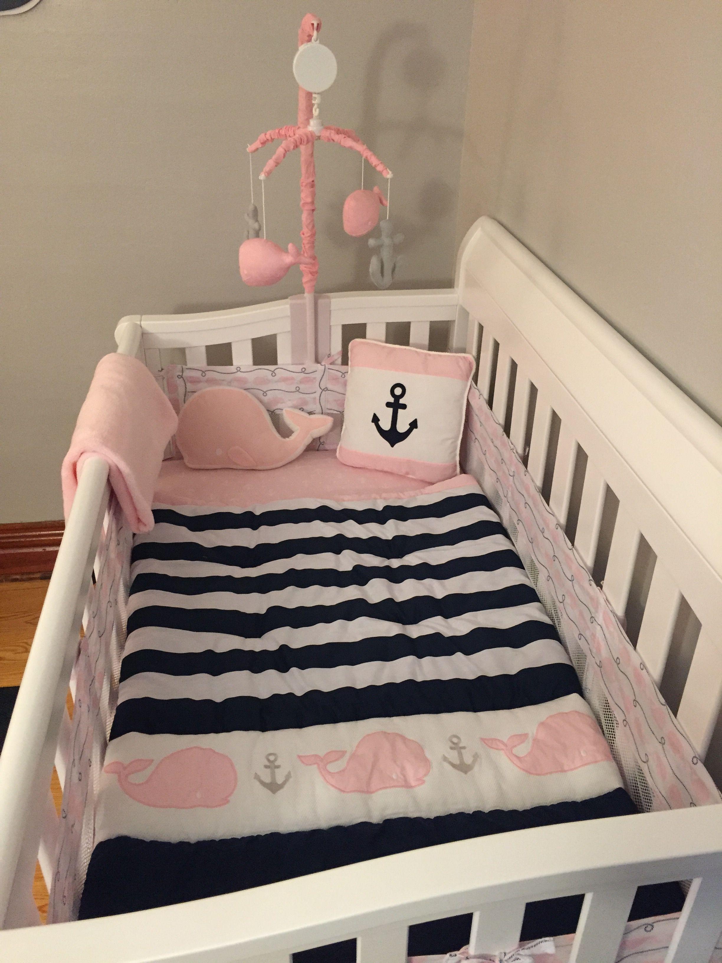 Girl nautical decor Nautical nursery decor Anchor nursery decor Nautical matching print set Pink nautical nursery decor
