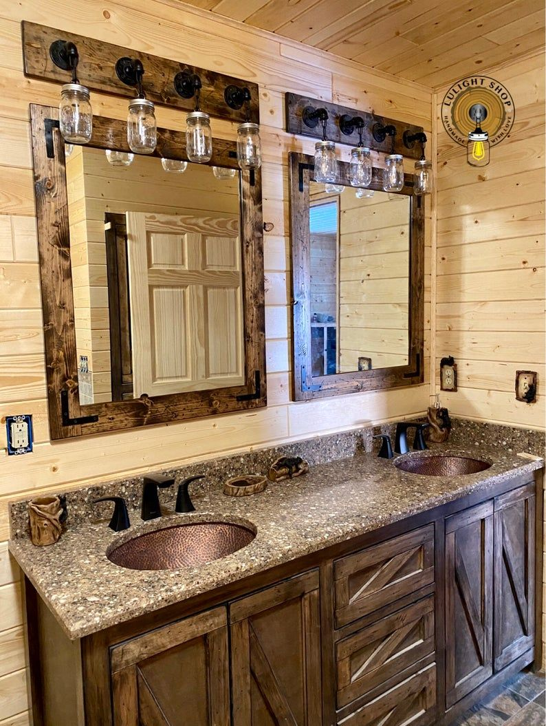 RUSTIC DISTRESSED Mirror With Oil Rubbed Bronze Co