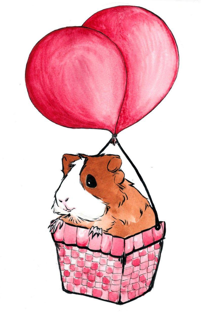 Cavy Cute Small Animals Original Watercolor Painting Print Etsy Dieren Tekenen Cavia S Cavia