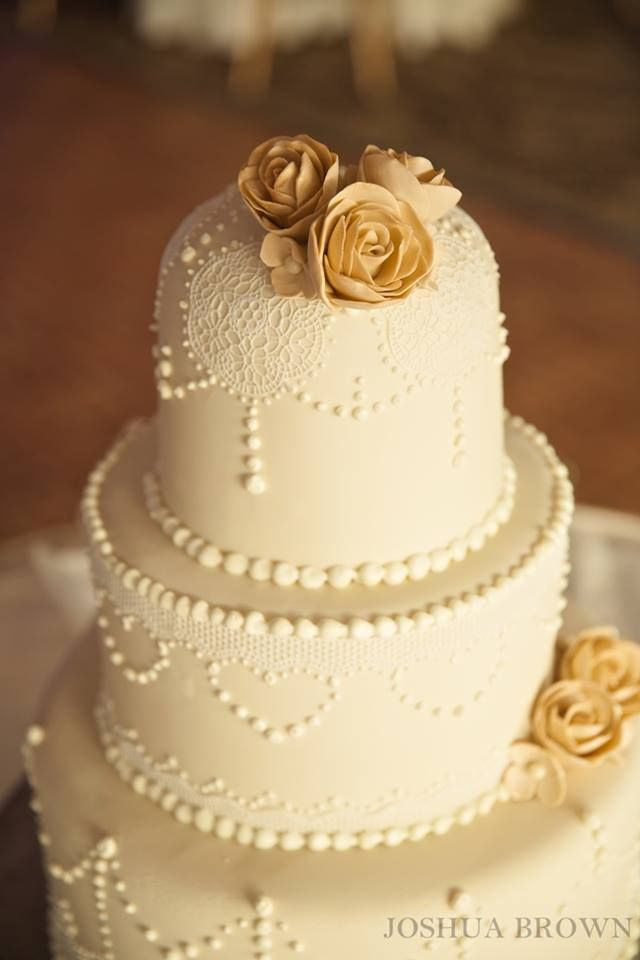 Lace detail on an ivory fondant cake made right here by our pastry ...