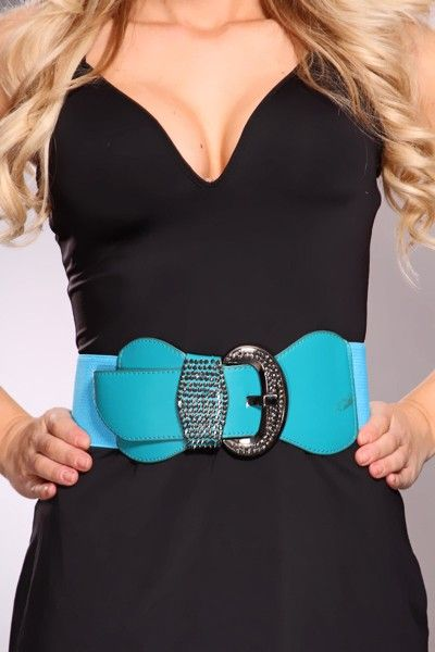Add some bold color to your outfit by donning this super cute sparkly belt. Pair it with your favorite Amiclubwear wedges! Featuring a wide woven elastic waist band, stitched faux leather decor, over sized buckle lock closure and finished off with rhinestone embellished decor to shake things up a bit!