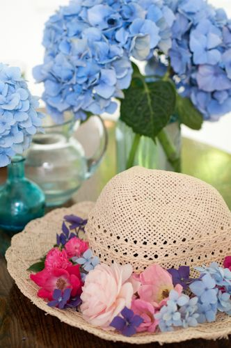 445cbd734c3 Straw sun hat with fresh flowers by Georgianna Lane -Love hydrangeas ...