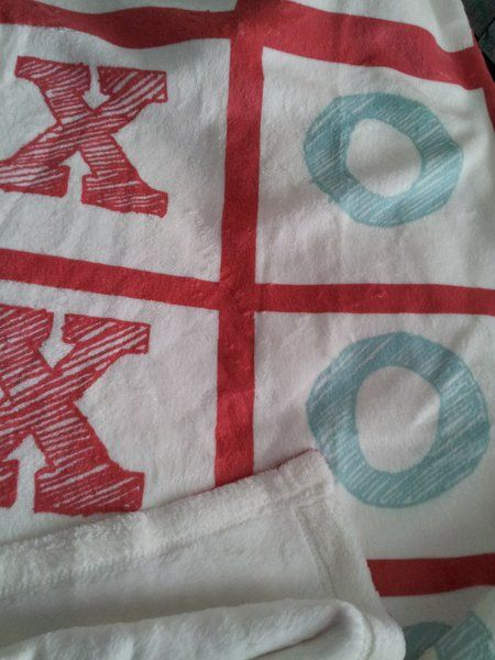 Throw Blanket - X O 30x40 or 50x60 Tic Tac Toe Fleece Blanket   DrapeStudio fabric, drapes, valance, pillows, bedding, baby, gift