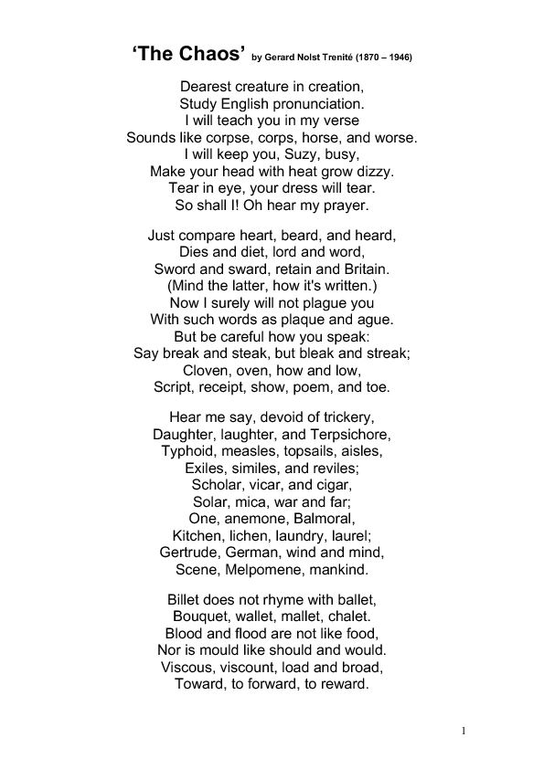 The Chaos- Poem for Pronunciation | Quotes and words | Poems
