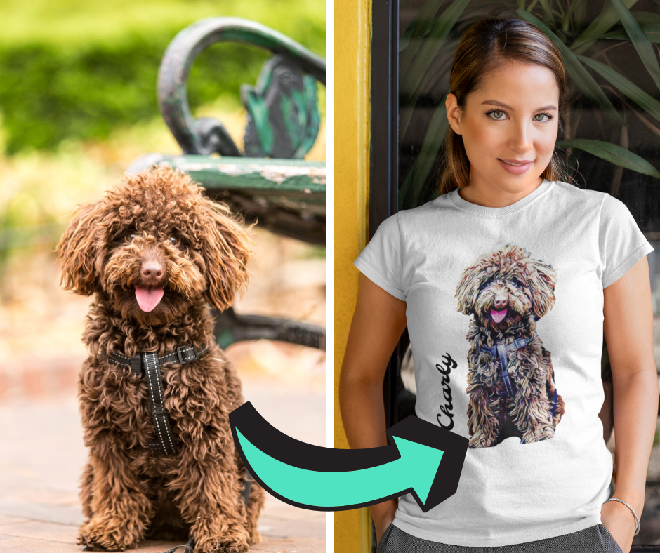 T-Shirt mit deinem Hund im Gemäldestil