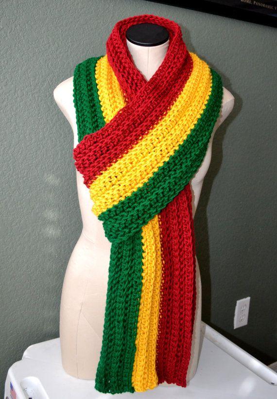 Ready To Ship Extra Long Crochet Rasta Scarf Pan By