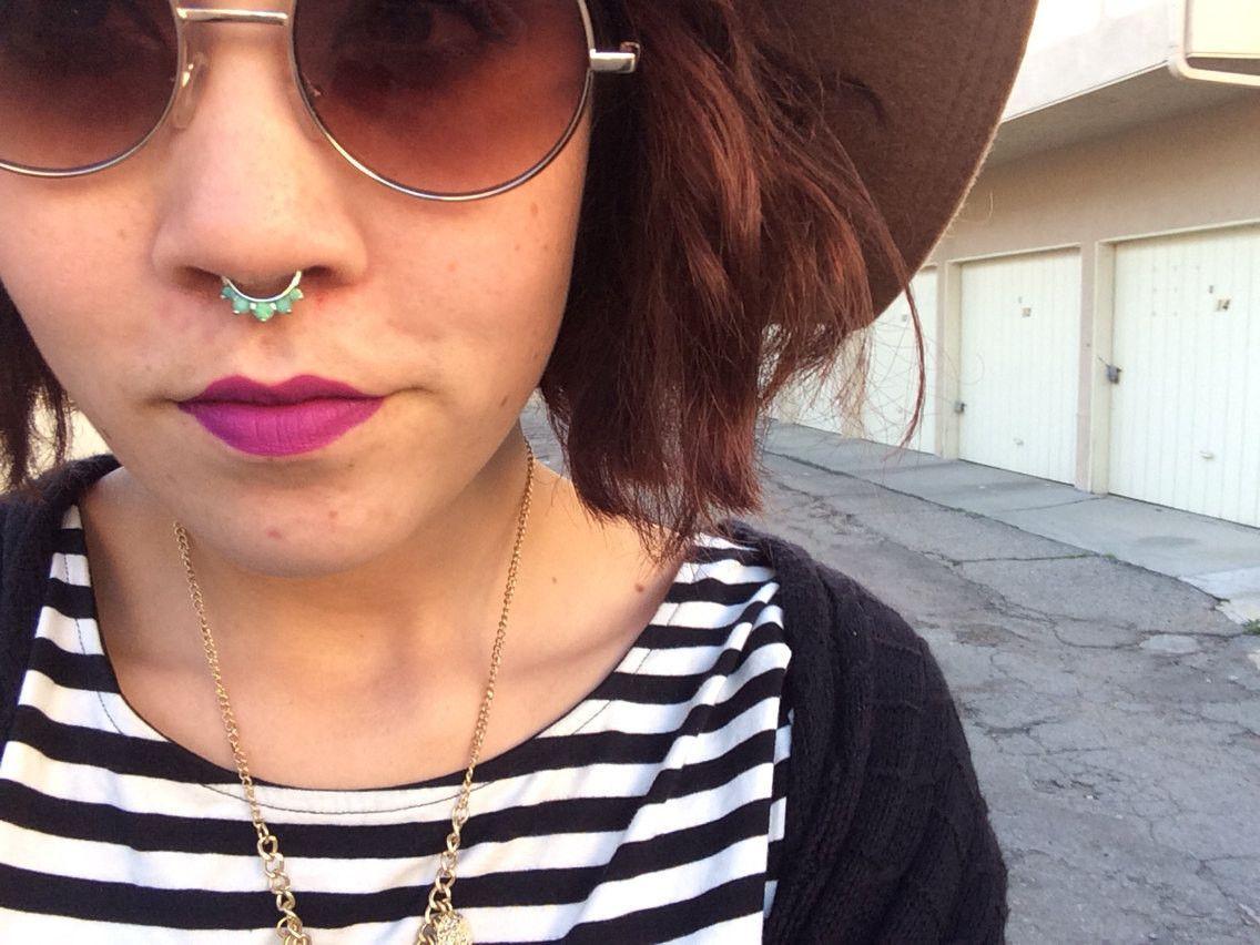 Bone through nose piercing   Gauge Mint Green Opalite Crystal Septum Ring Clicker Daith Ring