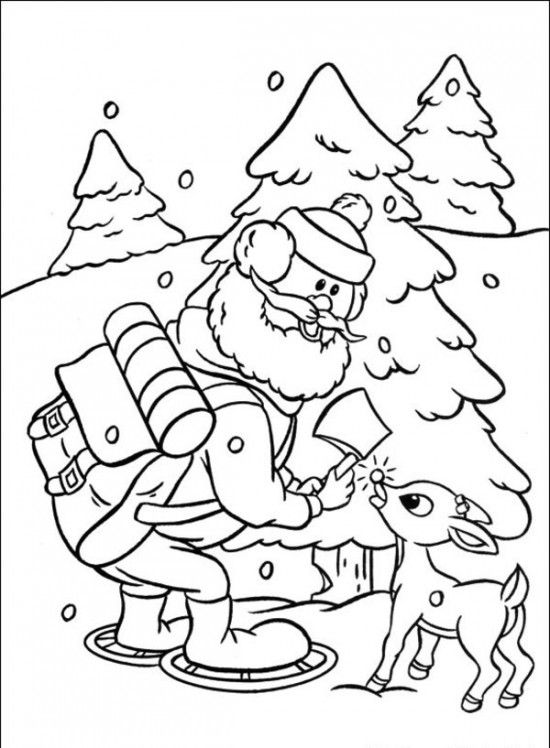 Rudolph the Red-Nosed Christmas Reindeer Coloring Pages | Frosty ...