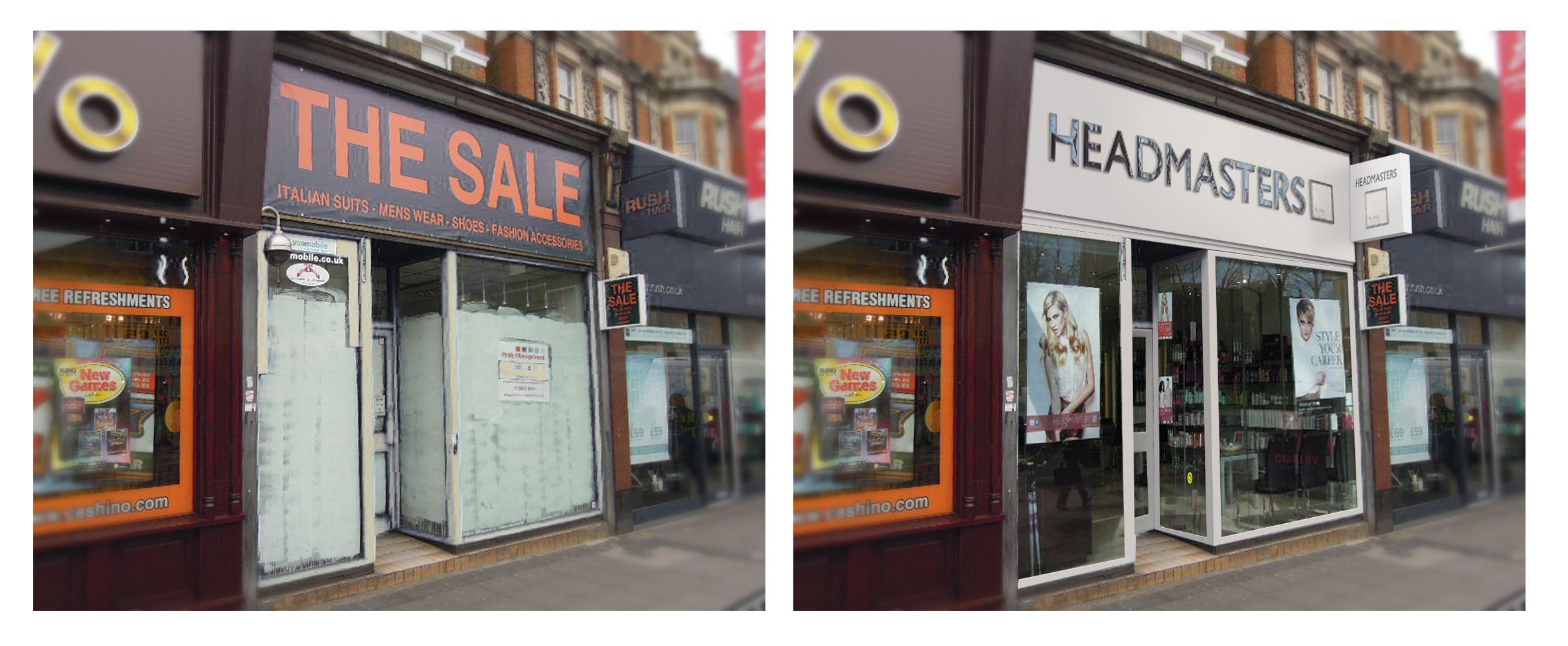 Digital store front mockup for Headmasters hair salon