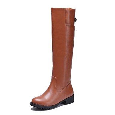 Saappaat+-+Leveä+korko+-+Naisten+kengät+-+Tekonahka+-+Ruskea+/+Samppanja+/+Musta+-+Puku+-+Ratsastussaappaat+–+EUR+€+35.27