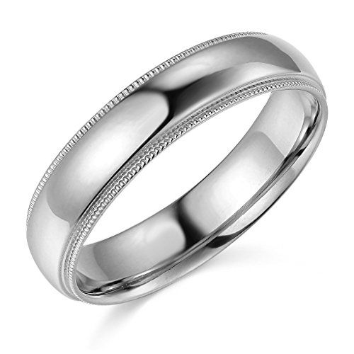 14k White Gold 5mm Plain Milgrain Wedding Band Size 12 Be Sure To Check Out This Awes Milgrain Wedding Bands Cool Rings For Men Mens Rings Wedding Diamond