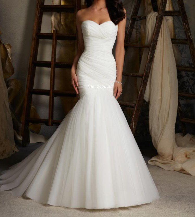 Neue Mode Slim Y Meerjungfrau Hochzeitskleid Größe 34 44 Ebay