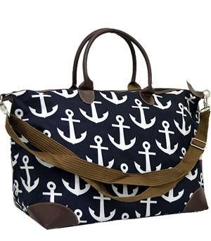 Overnight bag/Monogrammed Anchor weekender bag/Personalized Large ...