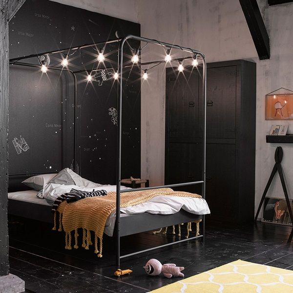Small Double Black Metal Four Poster Bed By Woood Four Poster